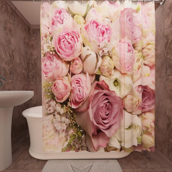 Фотошторы для ванной «Розы алые»
