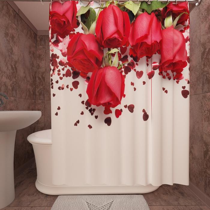 Фотошторы для ванной «Розы в подарок»