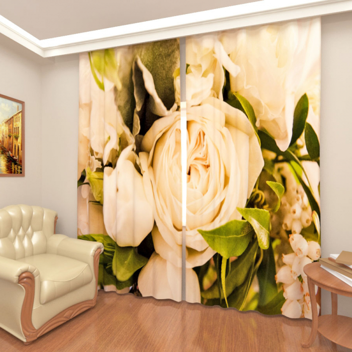 Фотошторы «Розы белые»