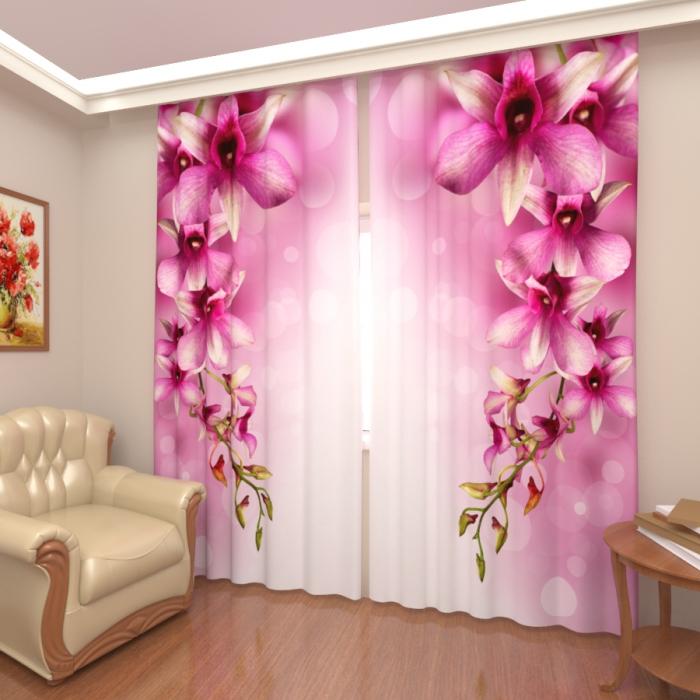Фотошторы «Розовые орхидеи 3»