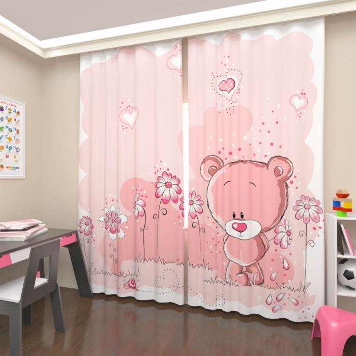 Фотошторы «Розовый медведь»