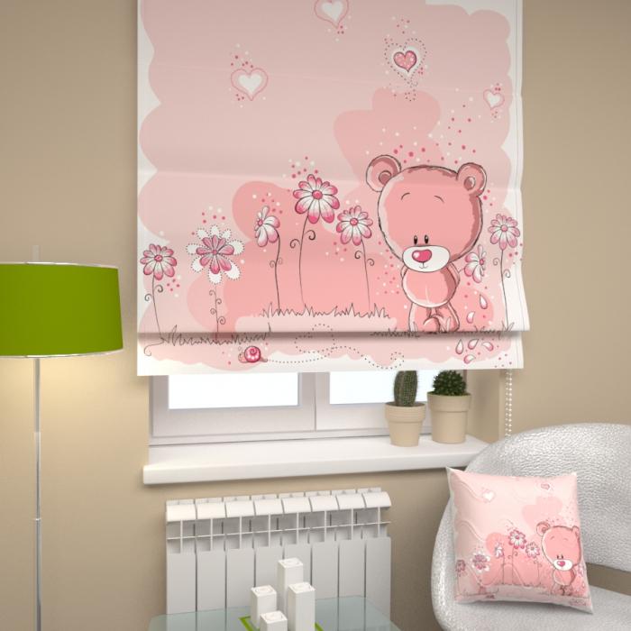 Римские фотошторы «Р Розовый медведь»