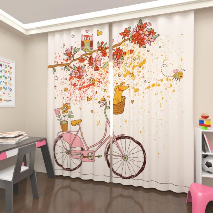 Фотошторы «Розовый велосипед»