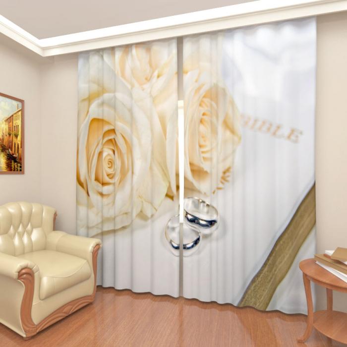 Большая распродажа «Розы белые 2, Атлас премиум, Общая ширина 250 см»