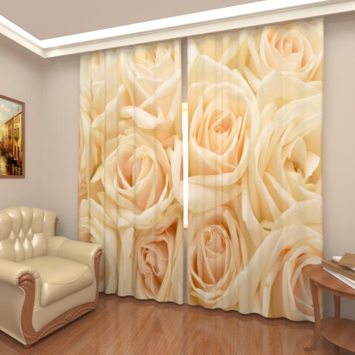 Фотошторы «Розы белые 3»