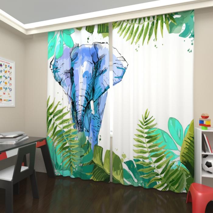 Фотошторы «Слон в джунглях»