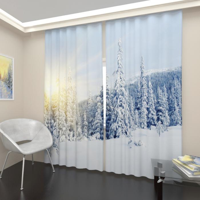Фотошторы «Снежный лес 1»