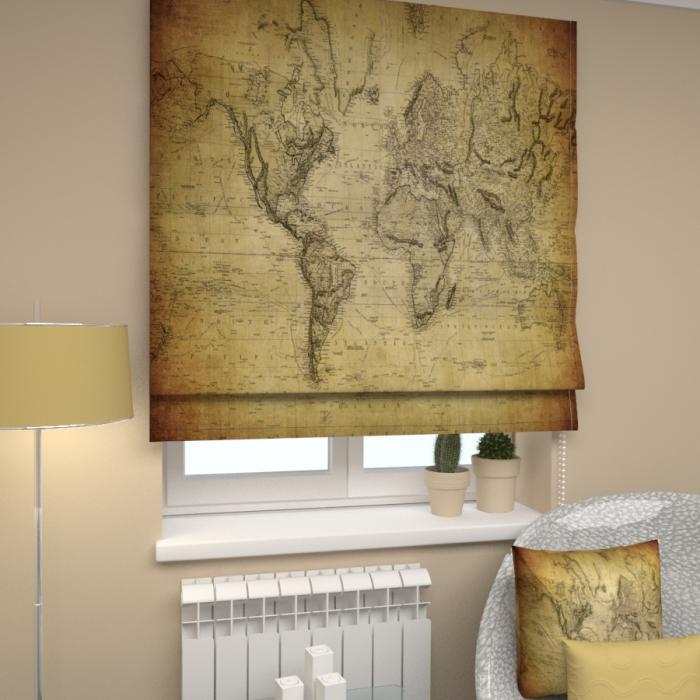 Римские фотошторы «Р Старая карта мира»