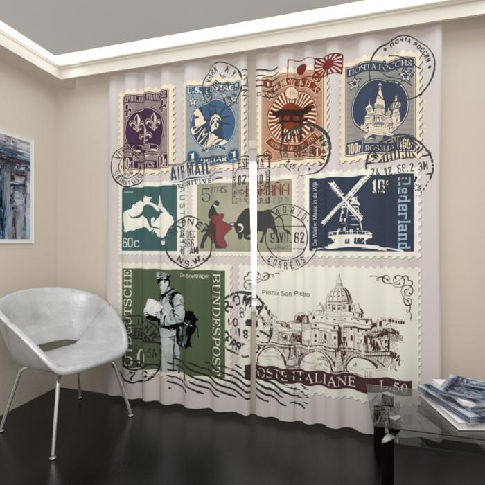 Фотошторы «Старые марки»