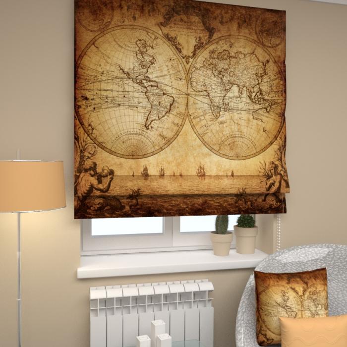 Римские фотошторы «Р Старинная карта»