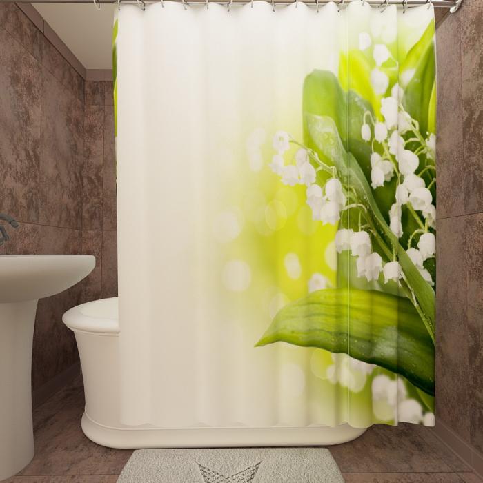 Фотошторы для ванной «Свежие ландыши»