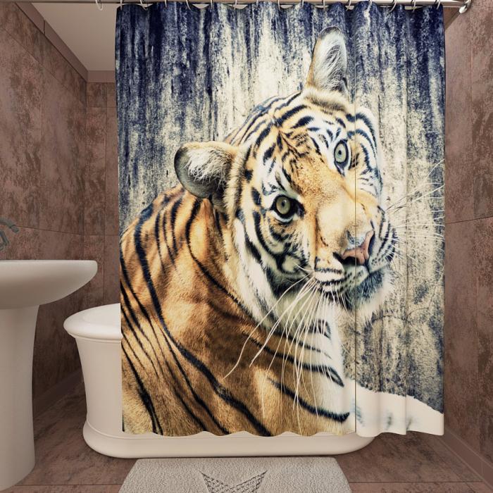 Фотошторы для ванной «Тигр 2»