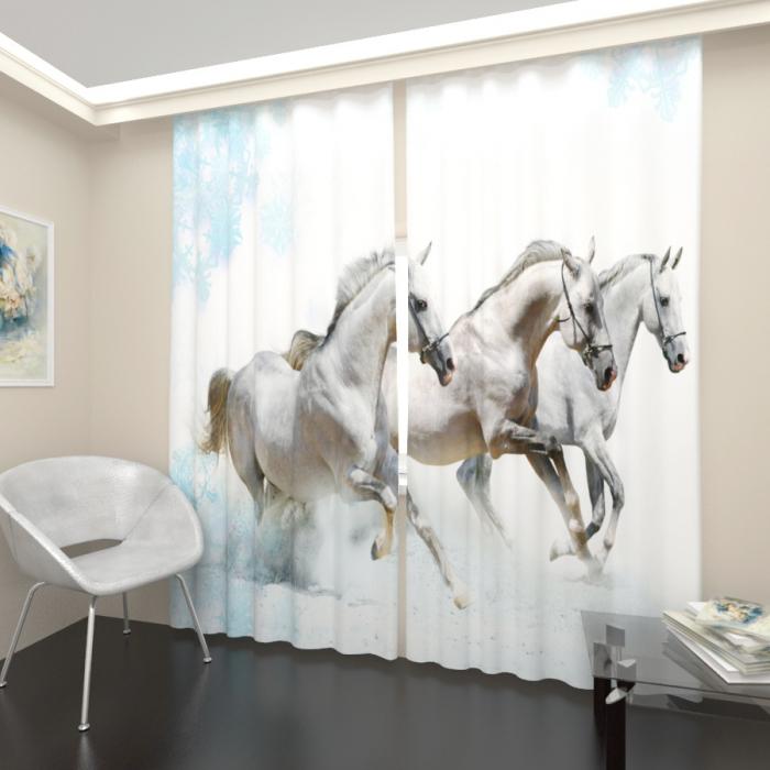 Фотошторы «Тройка белых лошадей»