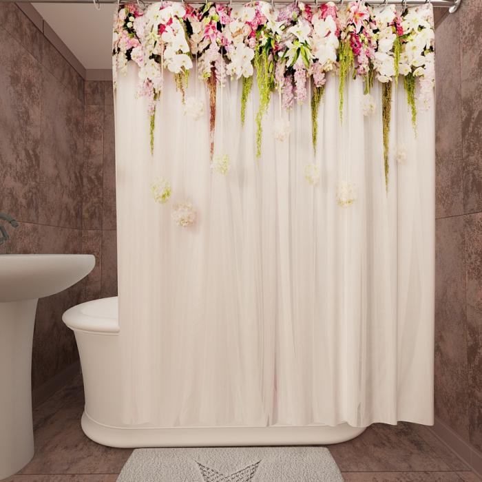 Фотошторы для ванной «Цветущая изгородь 1»