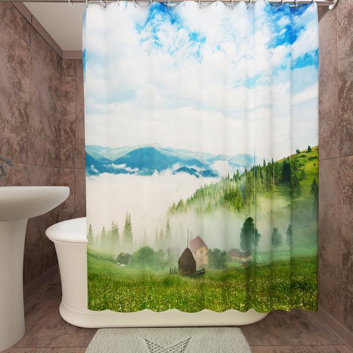 Фотошторы для ванной «Туман в долине»