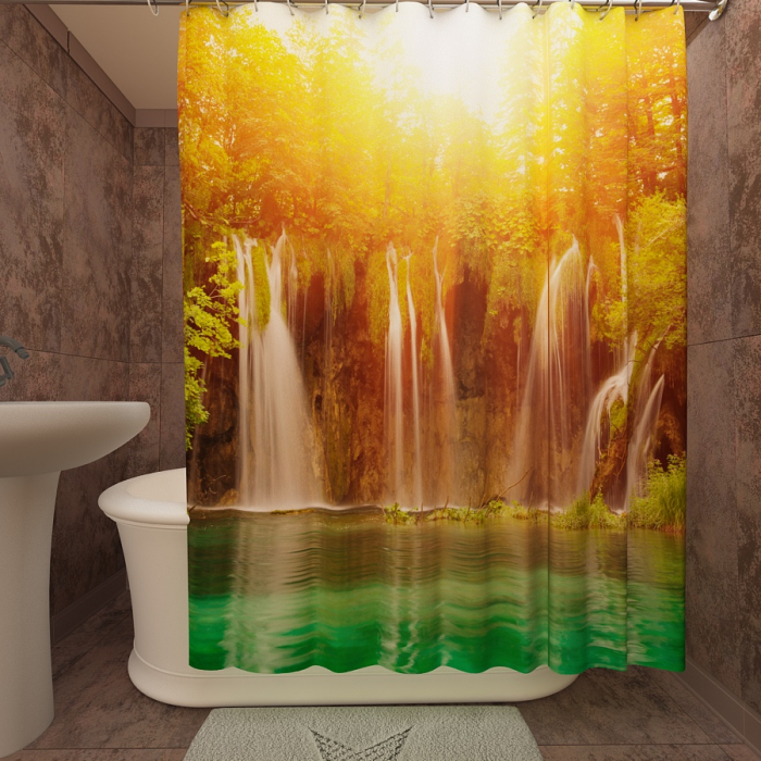 Фотошторы для ванной «Водопад в тропиках»