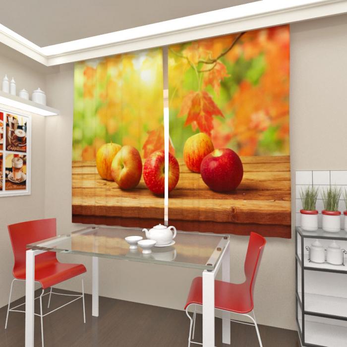 Фотошторы «Яблоки в осеннем саду»