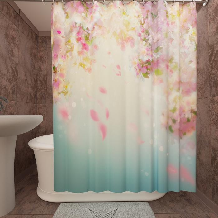 Фотошторы для ванной «Яблоня в цвету»