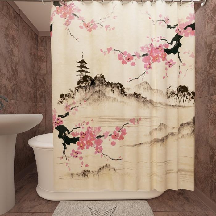 Фотошторы для ванной «Японский мотив»