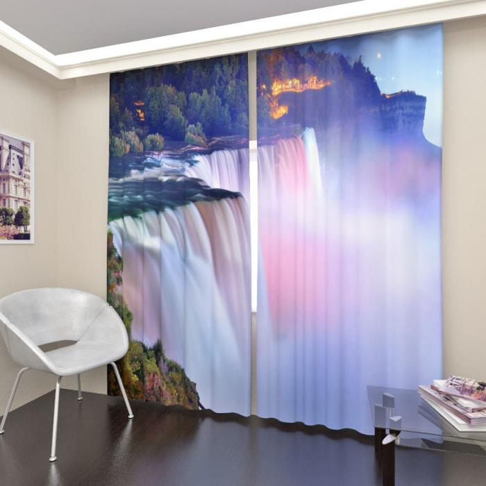 Фотошторы «Закат у водопада»