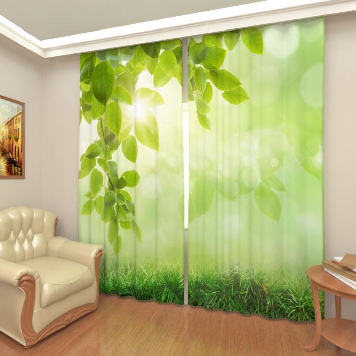 Фотошторы «Зеленая листва»
