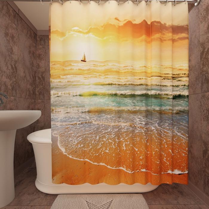 Фотошторы для ванной «Золотой закат 2»